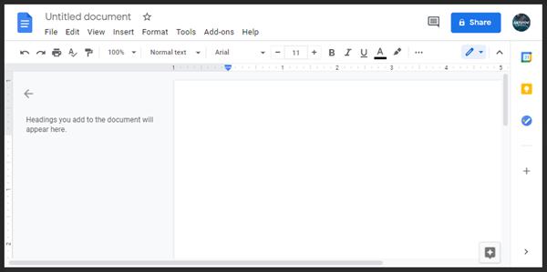 buat dokumen google docs baru