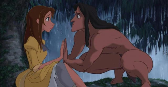 Tarzan and Jane Porter in jungle Tarzan 1999 animatedfilmreviews.filminspector.com