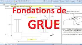 Calcul de semelles de grue sur pieux dans une feuille excel. Le calcul présenté fait référence aux fondations pour grue.