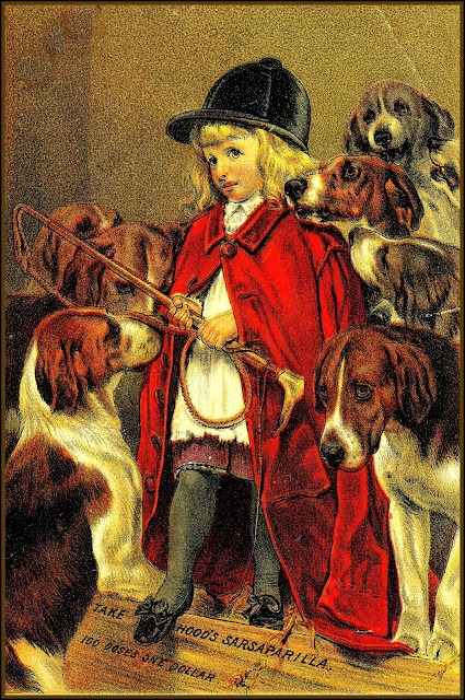 Blond girl wearing red cape and black hunting cap surrounded by 7 hounds