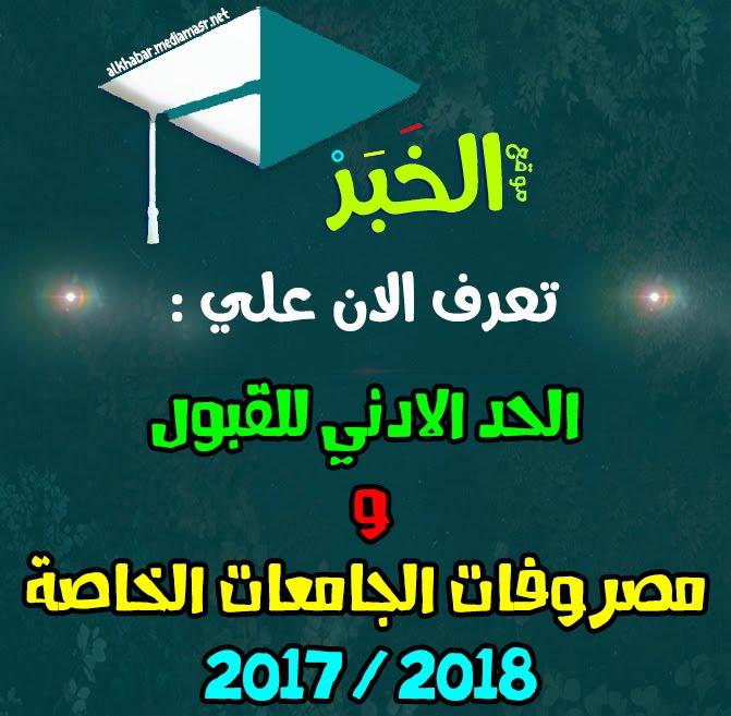 تعرف الان علي الحد الادني للقبول ومصروفات الجامعات الخاصة 2017 / 2018