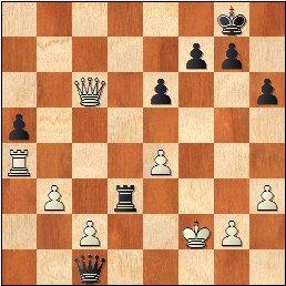 Partida de ajedrez Pepita Ferrer - Júlia Maldonado, 1964, posición después de 34…Txd3!!