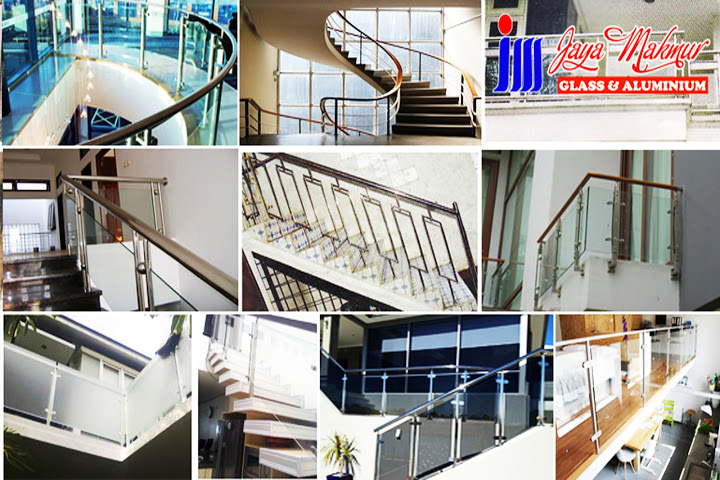 Railing tangga stainless & glass