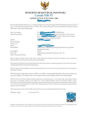 Contoh NIB PT-NIB CV-NIB Perseorangan I Nomor Induk Berusaha (NIB) Untuk Impor Barang