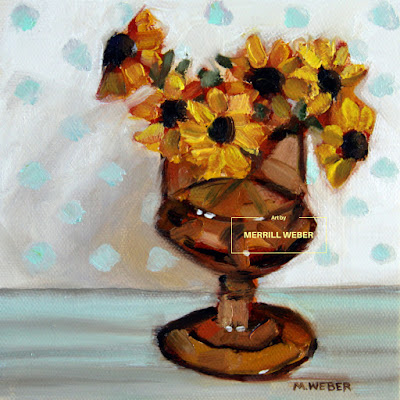 Oil painting of black-eyed Susans and polka dotted background, paired with the amber glass, By Merrill Weber.