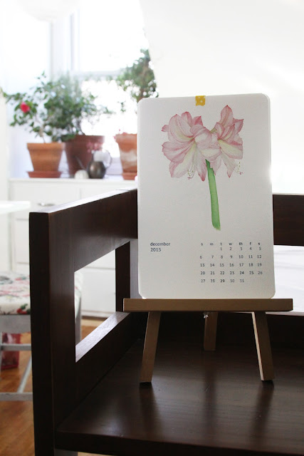 watercolor calendar, watercolor art print calendar, botanical calendar, floral calendar, Anne Butera, My Giant Strawberry