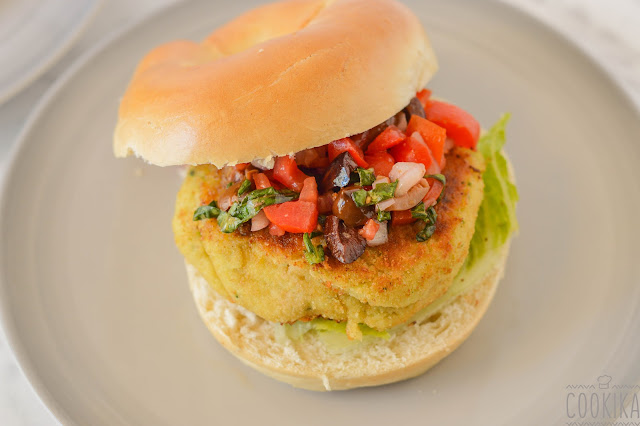 White Bean Burger with Fresh Cherry Tomatoes
