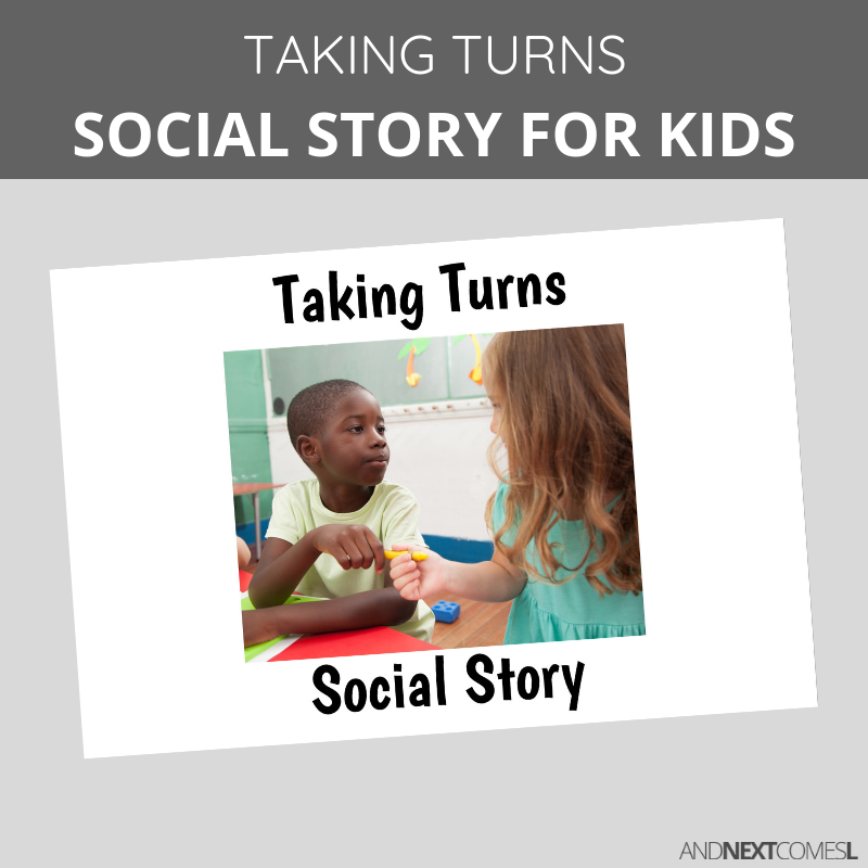 Printable social story for kids with autism about taking turns and sharing