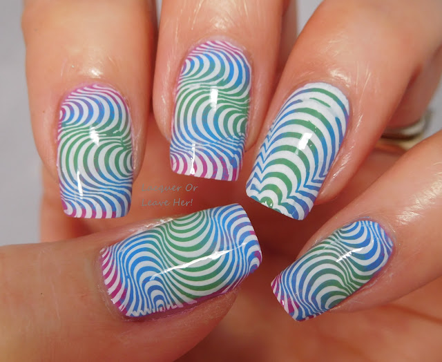 UberChic Beauty Op Art Magic over Zoya Sunset polishes