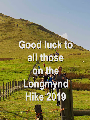 Good luck message for Longmynd Hikers superimposed over entrants from 2014 event