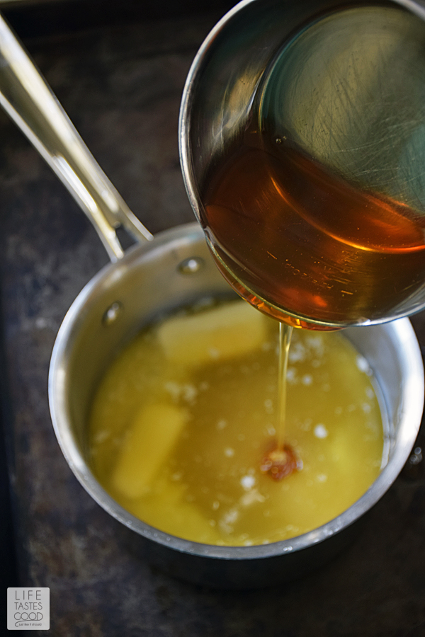 Pouring the honey into the butter brown sugar mixture for the brown sugar glaze to coat the honey baked ham