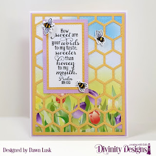 Stamp/Die Duos: Bee-Lieve Custom Dies: A2 Portrait Card Base with Layer, Matting Rectangle, Pierced Rectangles, Double Stitched Rectangles Paper Collection: Spring Flowers 2019