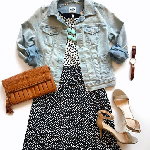 polka dot dress + denim jacket + nude sandals
