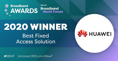 โซลูชัน AirPON จาก Huawei คว้ารางวัลโซลูชันการให้บริการการเชื่อมต่อแบบ Fixed Access ที่ดีที่สุด ในงานประชุม Broadband World Forum 2020