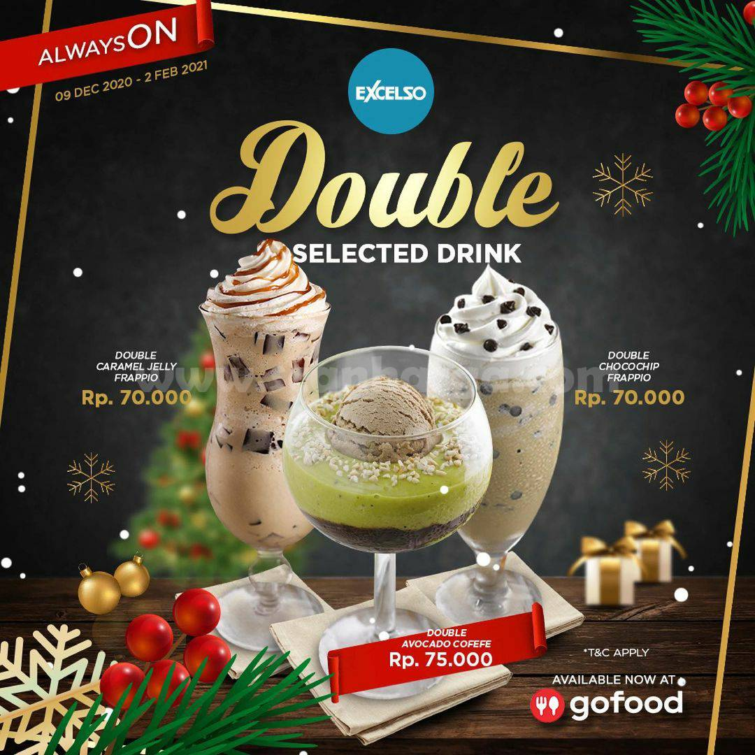 Promo EXCELSO Coffee Double Selected Drinks harga mulai Rp 70.000