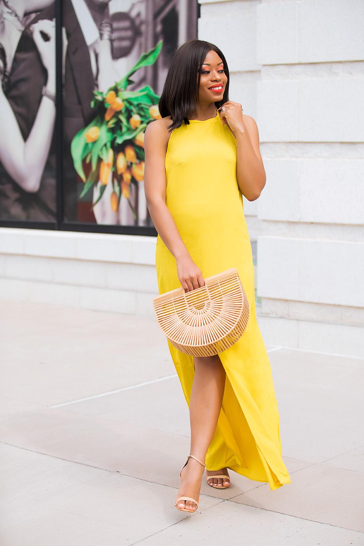 maxi dress, yellow dress, cult gaia bag, www.jadore-fashion.com