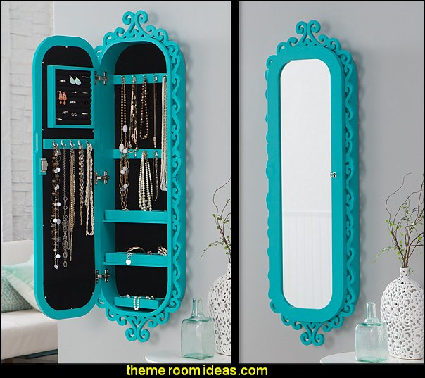 Wall Scroll Locking Jewelry Armoire - Turquoise