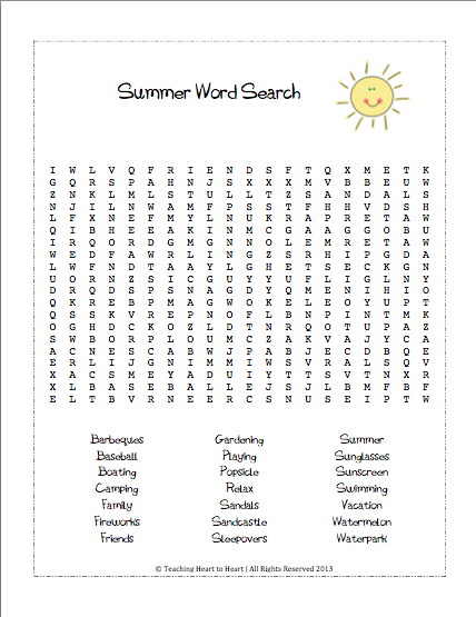 Summer Word Search- Students search for 21 summer words.