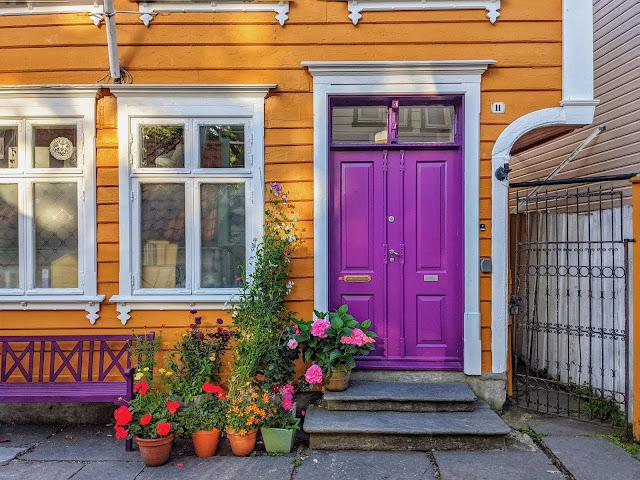 Purple door in Bergen Norway
