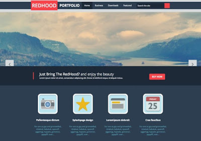 Red Hood Portfolio Blogger Template - Free Download