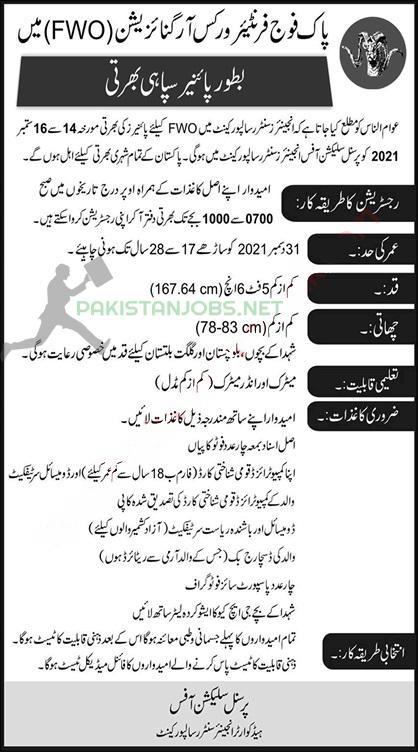 Pak Army FWO Pioneer Sipahi Jobs 2021: Apply Now!