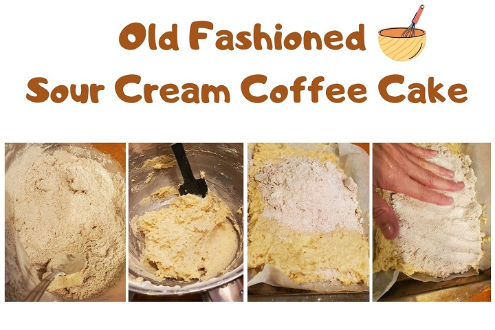 this is a collage of how to make old fashioned coffee cake and step by step