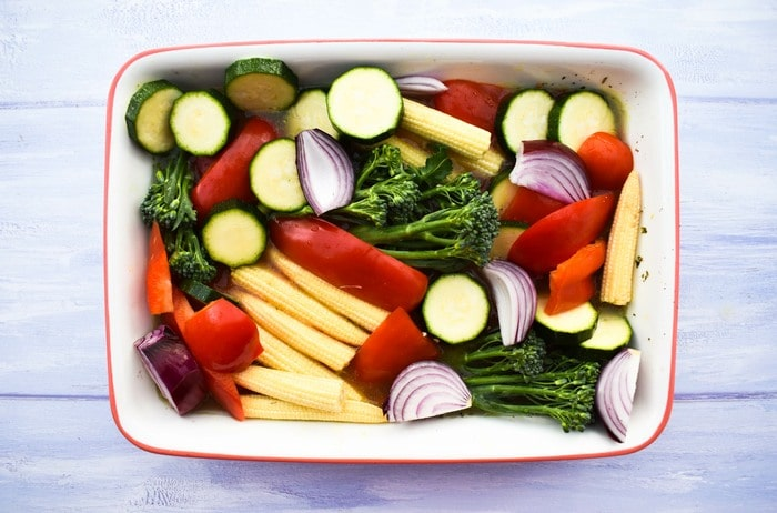 vegetables in a roasting tin
