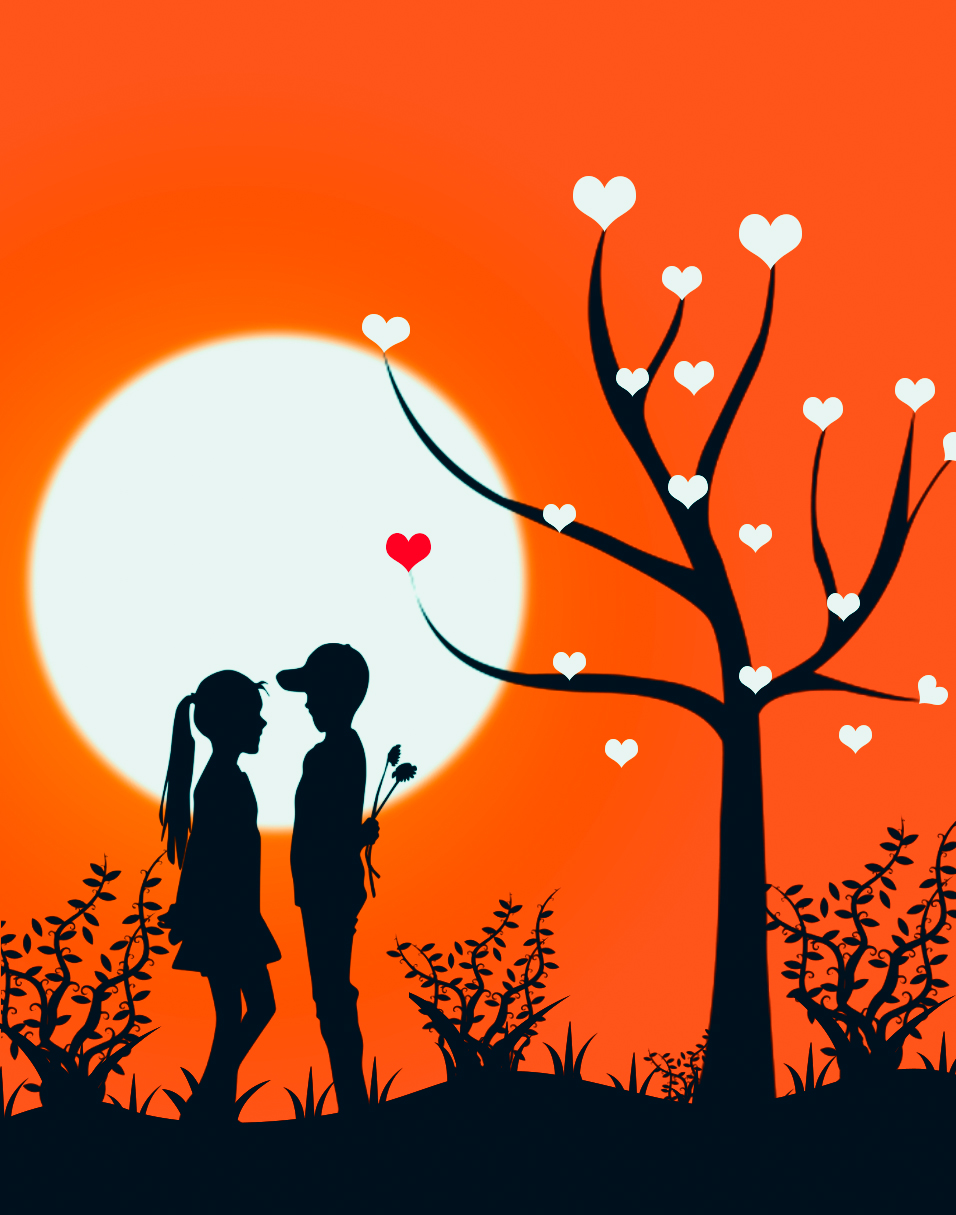 Valentine S Couple Under Love Tree Drawing In Photoshop