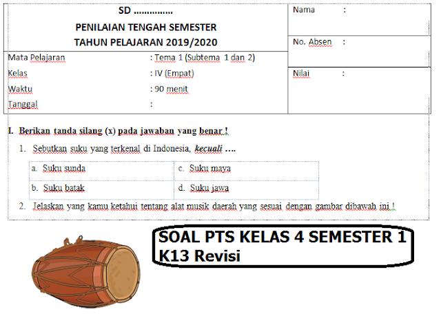 Soal PTS Kelas 4 Semester 1 K13 Revisi 2020, Download File Lengkap