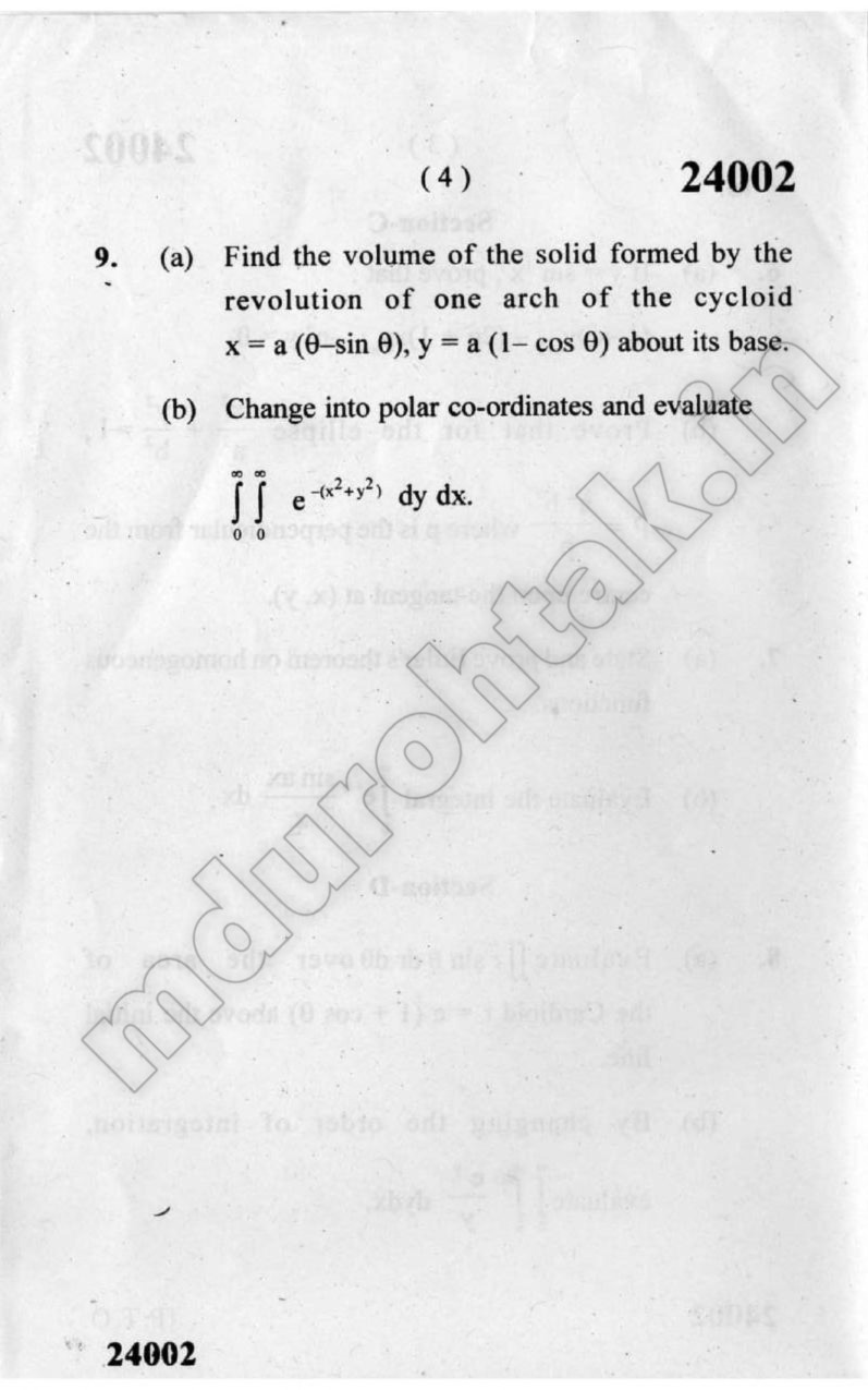 Download Mathematics 1 - Question Paper - B.Tech 1st Year - December 2019 for free