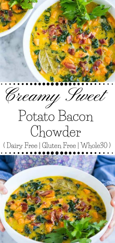 CREAMY SWEET POTATO BACON CHOWDER  #diet #potato #paleo #whole30 #keto