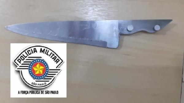 Polícia Militar de Lucélia faz prisão em flagrante pelo crime de violência doméstica e apreende faca