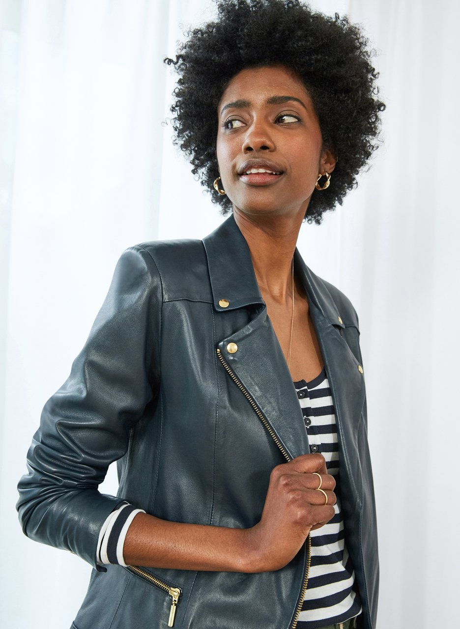 my midlife fashion, Baukjen kara leather jacket