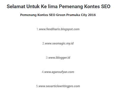 kontes SEO Green Pramuka City 2016