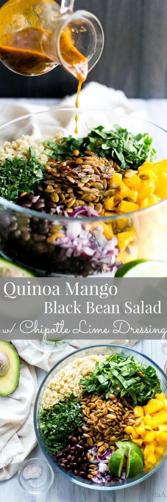 Quínoa Mango Black Bean Salad wíth Spíced Pepítas and Chípotle Líme Dressíng