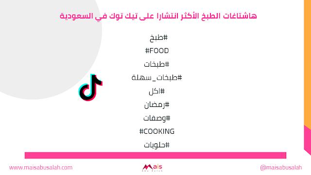 هاشتاغات الطبخ الأكثر انتشارا على تيك توك في السعودية