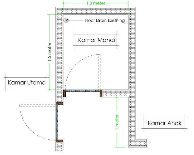 denah kamar mandi minimalis ukuran 2x1 5