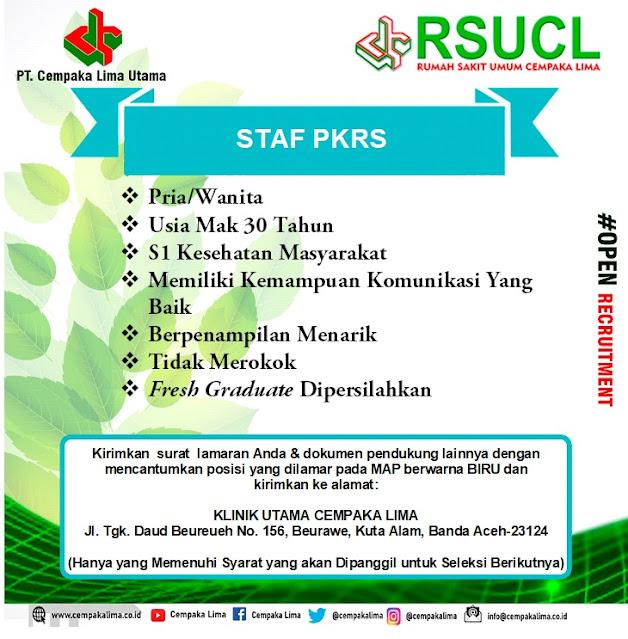 Lowongan Kerja Sebagai Staf PKRS RSU Cempaka Lima Aceh Tahun 2020