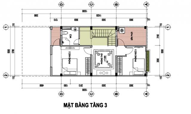 Mặt bằng thiết kế liền kề Tầng 3
