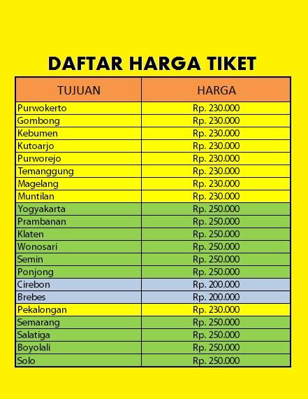 Harga Travel Jakarta Jogja Golden Prima Tour Travel