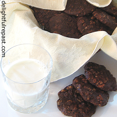 Chewy Chocolate Chunk Chocolate Oatmeal Cookies - The Adult Chocolate Chip Cookie (less sugar and bittersweet chocolate) / www.delightfulrepast.com