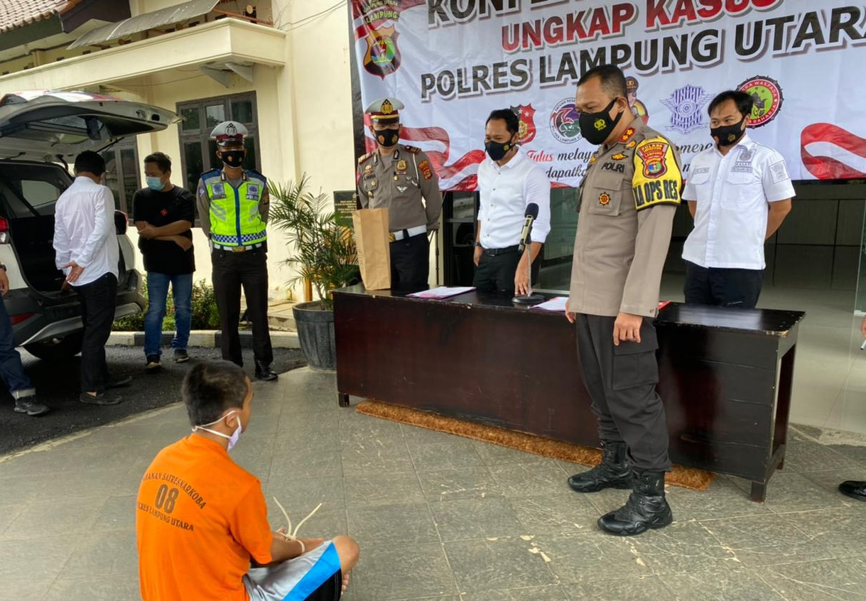 Lempar Mobil Patroli Polisi, Pemuda di Lampura Ditangkap Jajaran Polres
