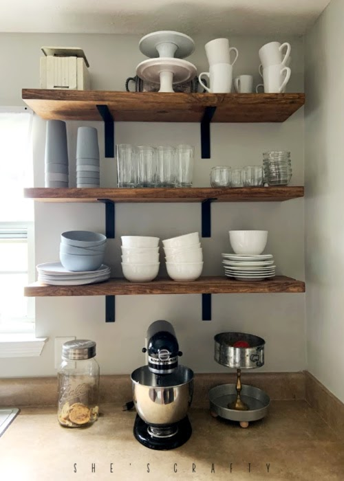 open kitchen shelving, wood shelves in kitchen, shelves and brackets, dish storage in kitchen