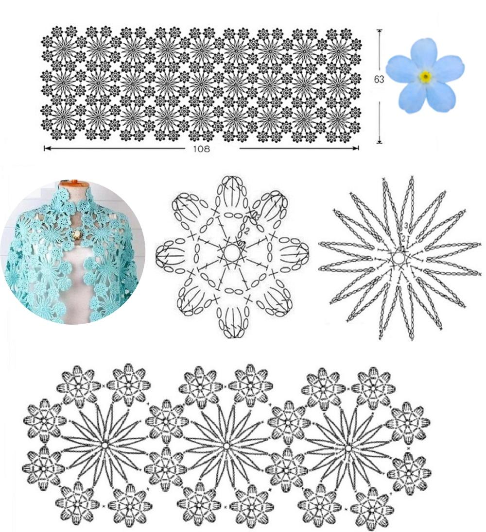 chal crochet, patrón motivos, patrones crochet