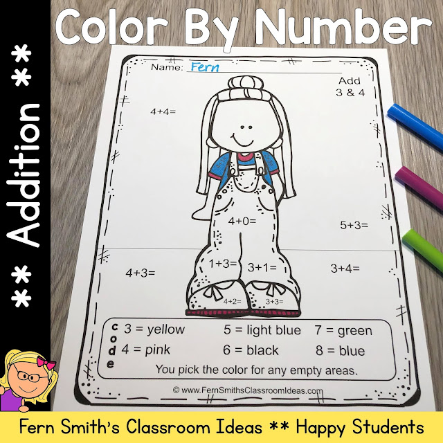 Click Here to Download Only the Back to School Happy Students Color By Number Addition Printables Resource for Your Classroom Today!