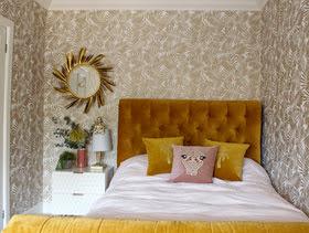 natural room with ochre velvet bed