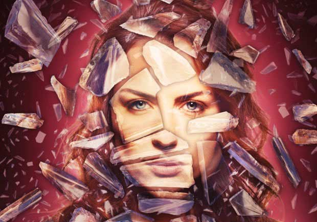 Create a shattered glass portrait