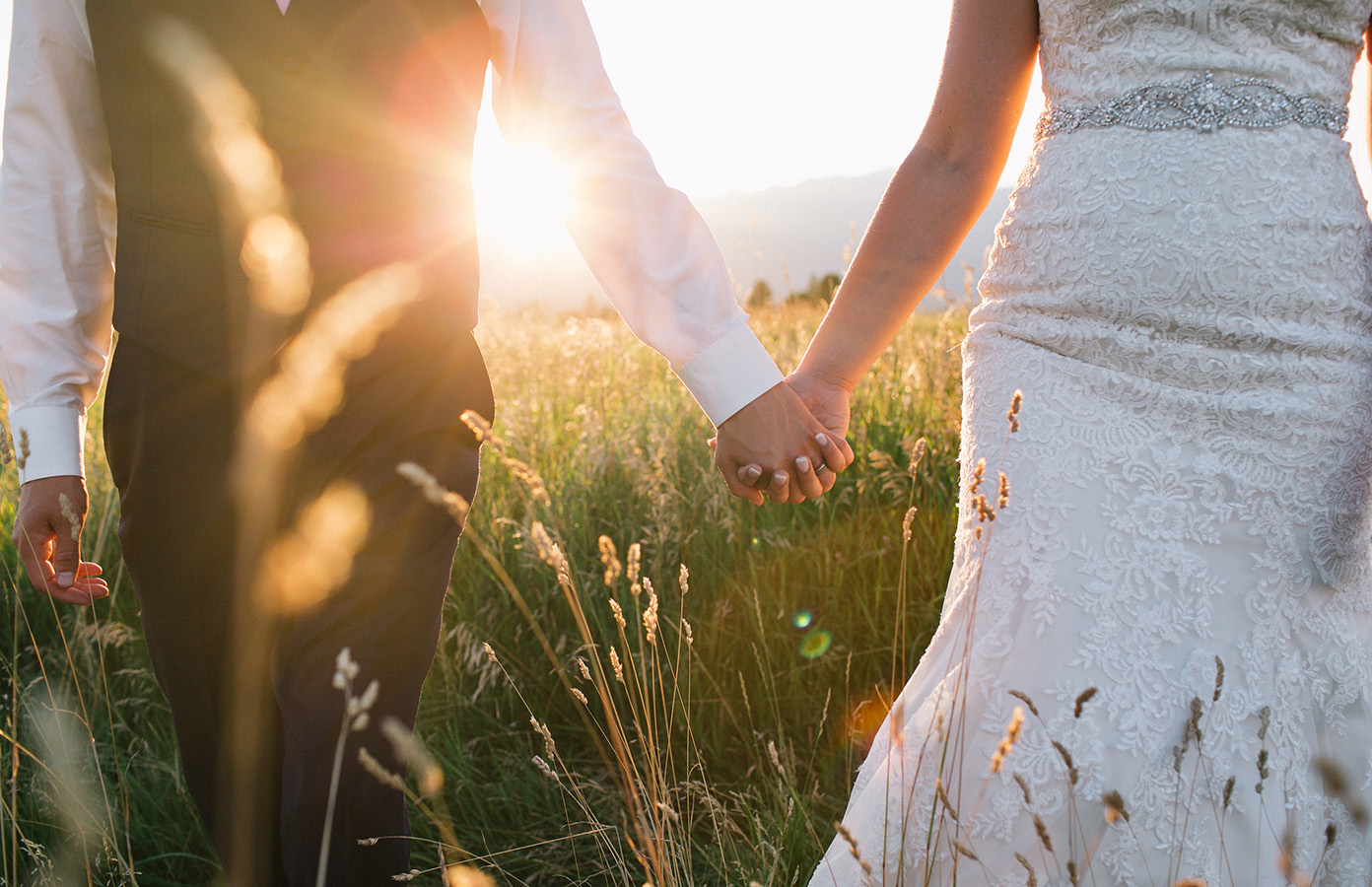 Bride, Montana, Mountains, Sunset, Wedding photography