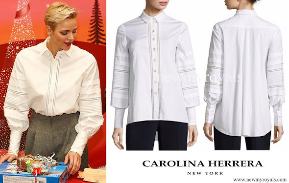 Princess Charlene wore Carolina Herrera Pleated Button-Front Blouse