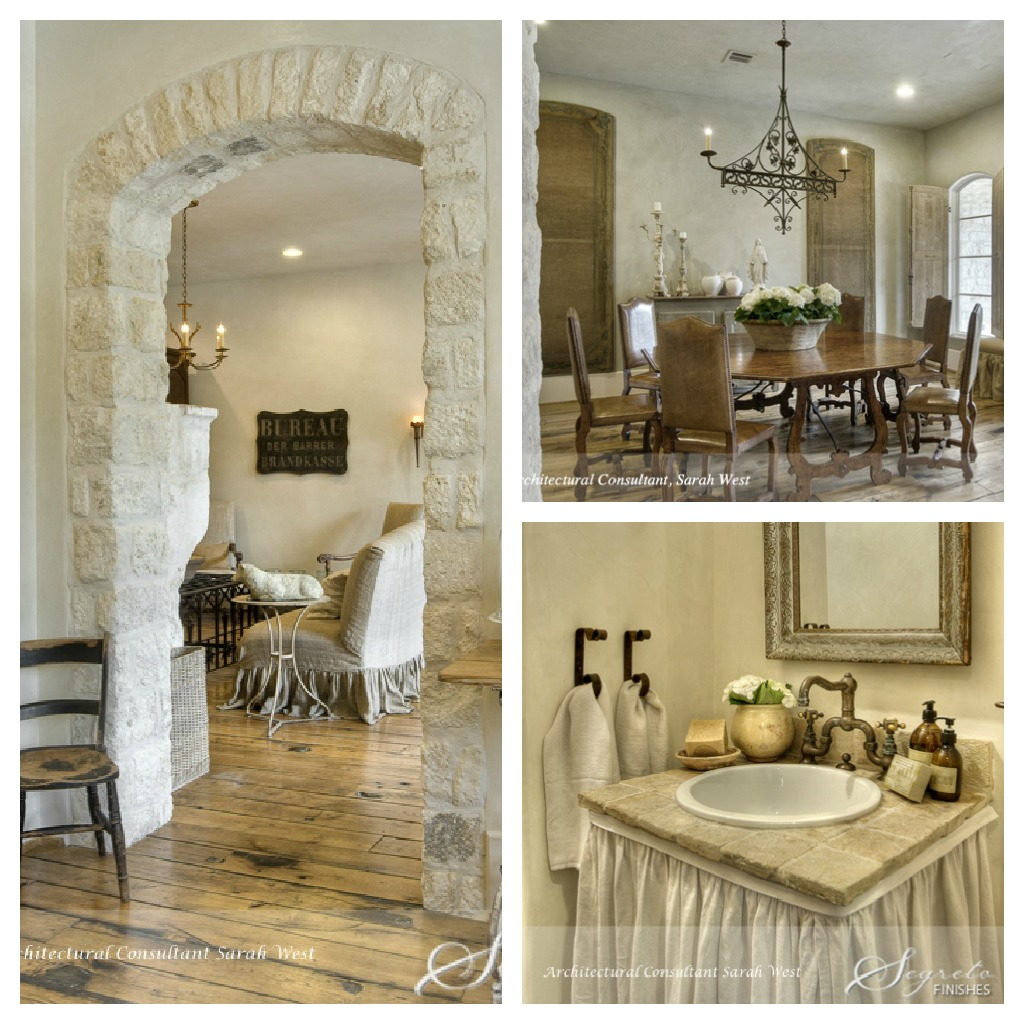 Segreto Finishes plaster walls and design details in a beautiful French country home with Old World style.